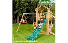 "Детский городок ""Jungle Cottage & Swing Module X'tra & Rock Module"" от фабрики Jungle Gym"
